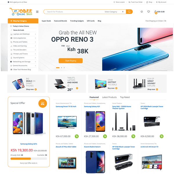 Obee Online Shop - Award Wining Electronics Ecommerce Website by Asher Group Ltd